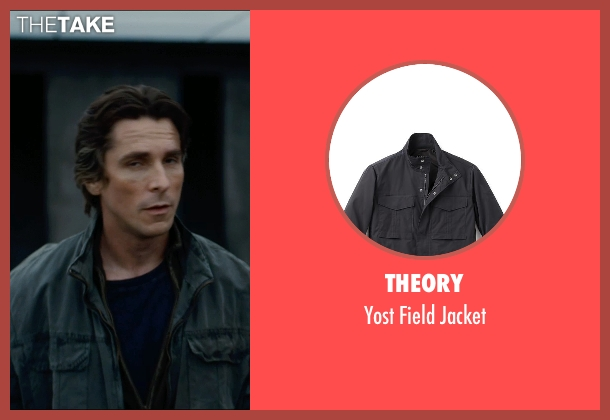 Theory black jacket from The Dark Knight Rises seen with Christian Bale (Bruce Wayne)