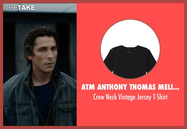 ATM Anthony Thomas Melillo black t-shirt from The Dark Knight Rises seen with Christian Bale (Bruce Wayne)