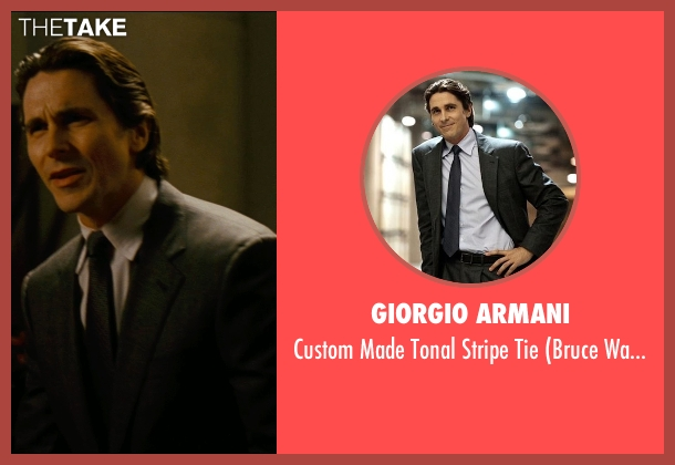 Giorgio Armani gray tie from The Dark Knight Rises seen with Christian Bale (Bruce Wayne)