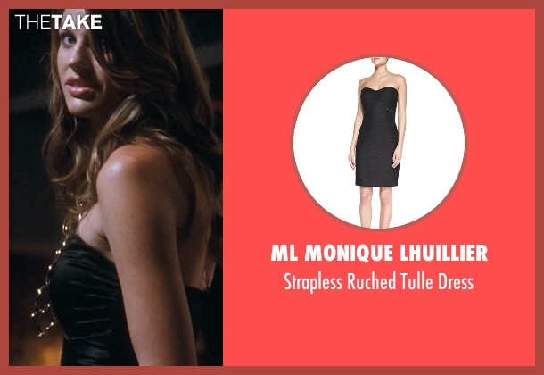 ML Monique Lhuillier black dress from Crazy, Stupid, Love. seen with Christian Pitre (Waitress with Check)