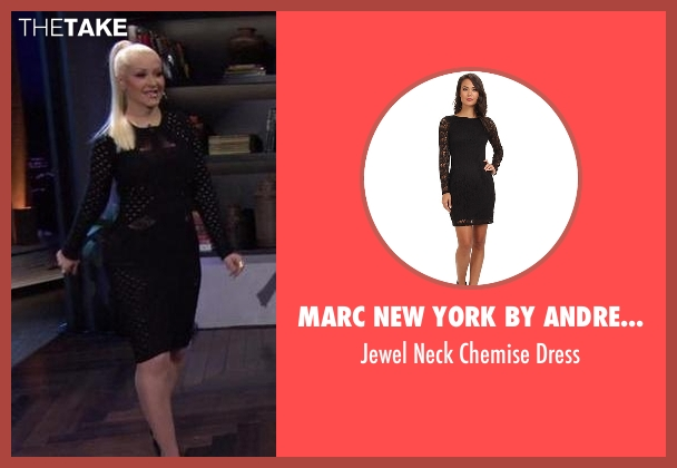 Marc New York by Andrew Marc black dress from Chelsea seen with Christina Aguilera