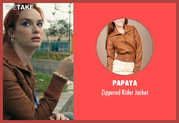 Papaya brown jacket from Drive seen with Christina Hendricks (Blanche)