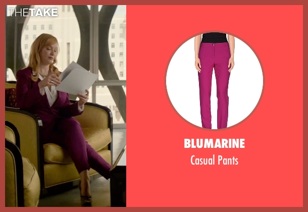 Blumarine purple pants from The Neon Demon seen with Christina Hendricks (Jan)