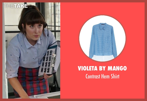 Violeta By Mango blue shirt from The Intern seen with Christina Scherer (Becky Scott)