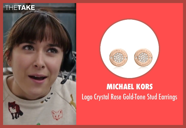 Michael Kors brown earrings from The Intern seen with Christina Scherer (Becky Scott)
