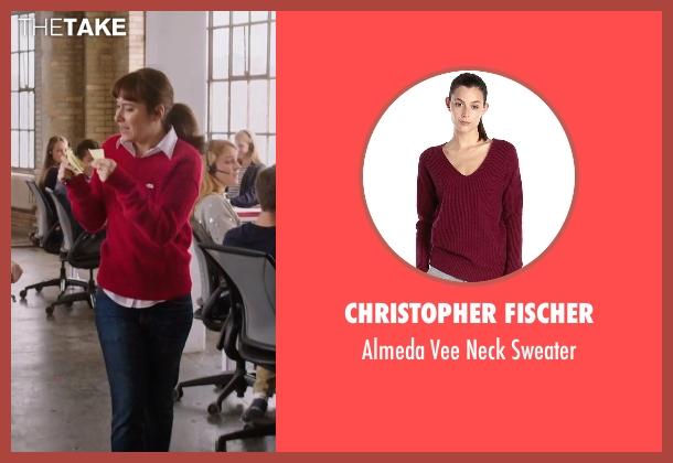 Christopher Fischer red sweater from The Intern seen with Christina Scherer (Becky Scott)