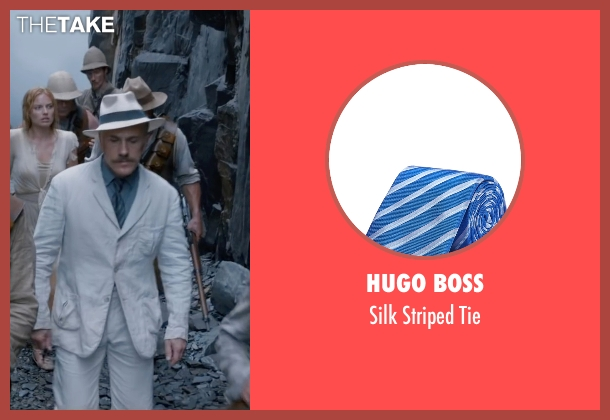 Hugo Boss blue tie from The Legend of Tarzan seen with Christoph Waltz (Captain Rom)