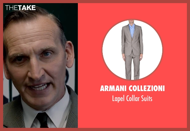 Armani Collezioni gray suits from Legend seen with Christopher Eccleston (Nipper Read)