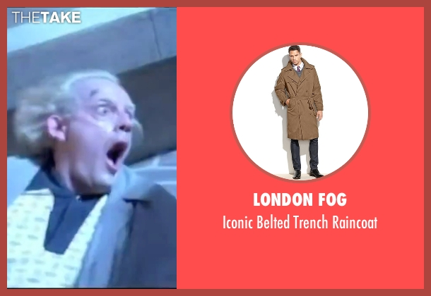 London Fog brown raincoat from Back To The Future seen with Christopher Lloyd (Dr. Emmett Brown)