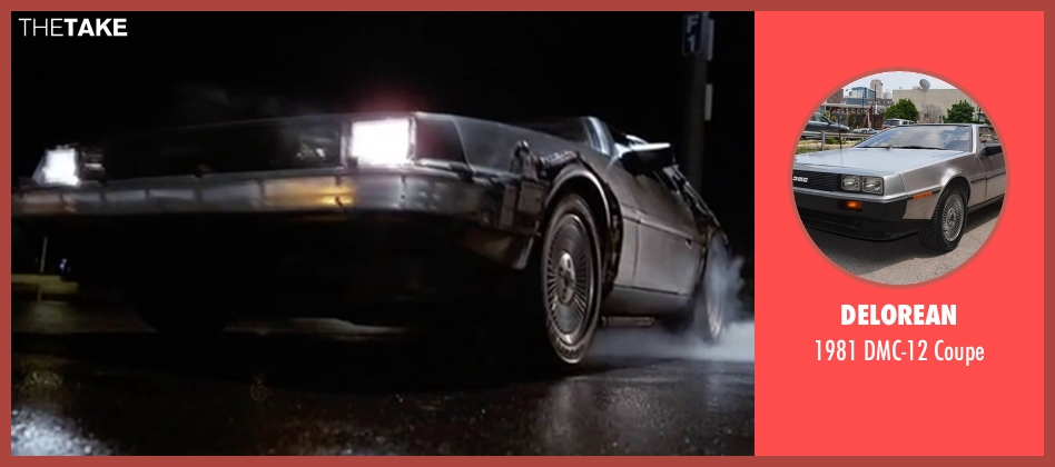 DeLorean coupe from Back To The Future Part II seen with Christopher Lloyd (Dr. Emmett Brown)