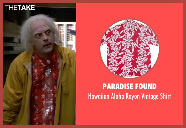 Paradise Found red shirt from Back To The Future Part II seen with Christopher Lloyd (Dr. Emmett Brown)