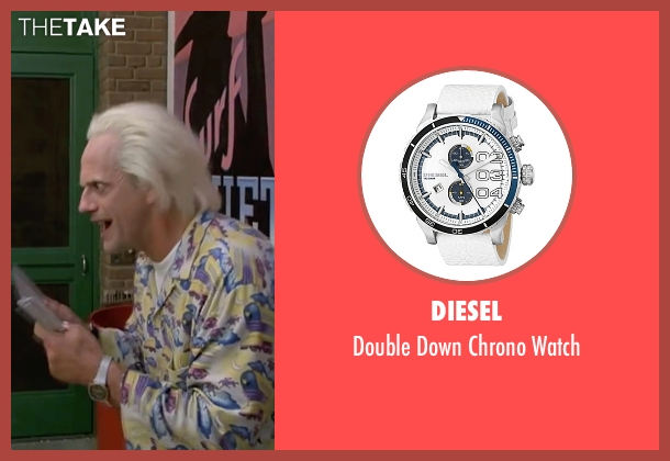 Diesel white watch from Back To The Future Part II seen with Christopher Lloyd (Dr. Emmett Brown)