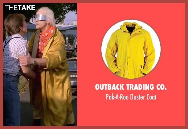 Outback Trading Co. yellow coat from Back To The Future Part II seen with Christopher Lloyd (Dr. Emmett Brown)
