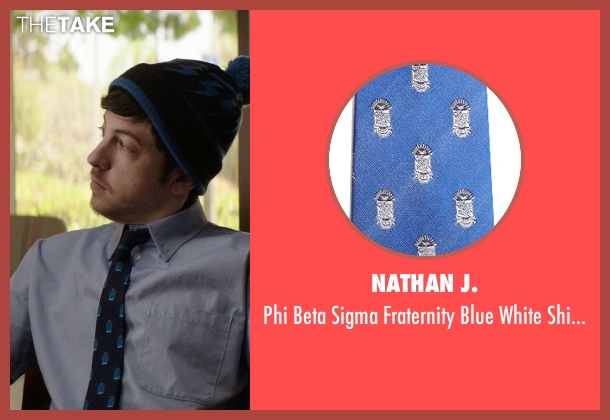 Nathan J. blue necktie from Neighbors seen with Christopher Mintz-Plasse (Scoonie)