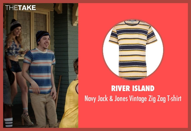 River Island blue t-shirt from Neighbors seen with Christopher Mintz-Plasse (Scoonie)