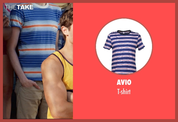 AVIO blue t-shirt from Neighbors seen with Christopher Mintz-Plasse (Scoonie)