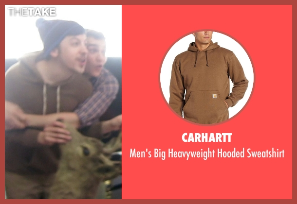 Carhartt brown sweatshirt from Neighbors seen with Christopher Mintz-Plasse (Scoonie)