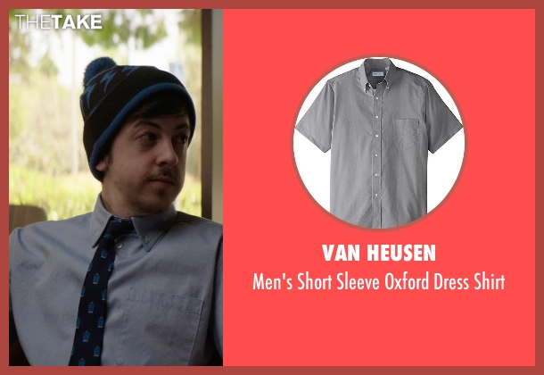 Van Heusen gray shirt from Neighbors seen with Christopher Mintz-Plasse (Scoonie)