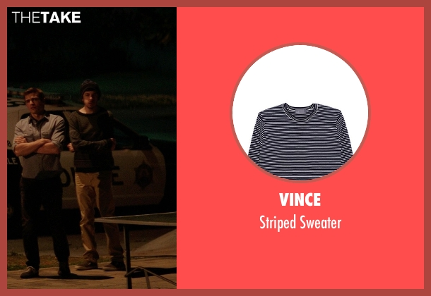 Vince gray sweater from Neighbors seen with Christopher Mintz-Plasse (Scoonie)