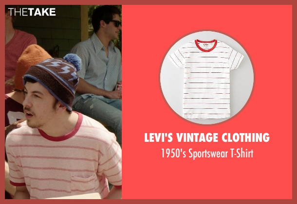 Levi's Vintage Clothing red t-shirt from Neighbors seen with Christopher Mintz-Plasse (Scoonie)