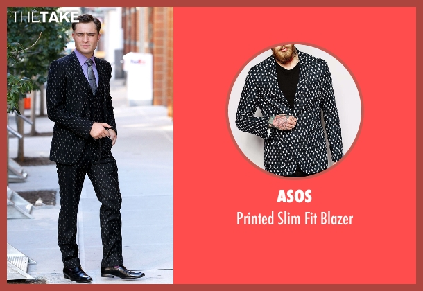 Asos black blazer from Gossip Girl seen with Chuck Bass (Ed Westwick)