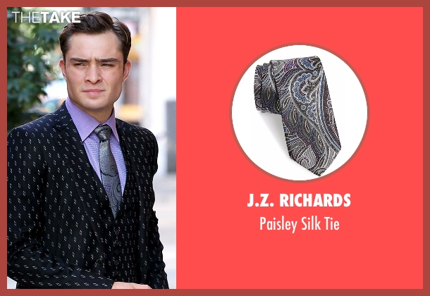 J.Z. Richards black tie from Gossip Girl seen with Chuck Bass (Ed Westwick)