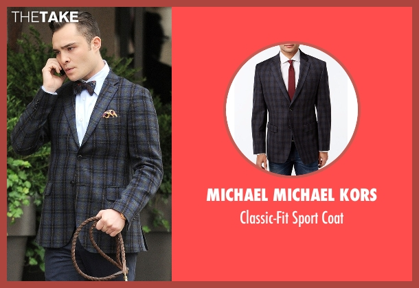 Michael Michael Kors gray coat from Gossip Girl seen with Chuck Bass (Ed Westwick)