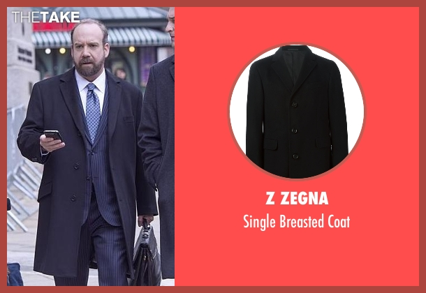 Z Zegna black coat from Billions seen with Chuck Rhoades (Paul Giamatti)
