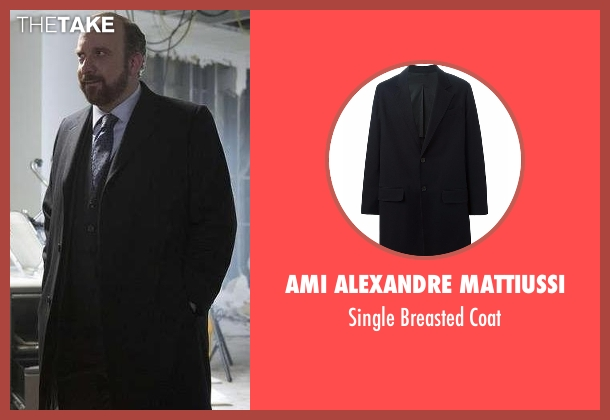 AMI Alexandre Mattiussi black coat from Billions seen with Chuck Rhoades (Paul Giamatti)