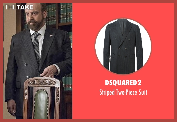 Dsquared2 black suit from Billions seen with Chuck Rhoades (Paul Giamatti)