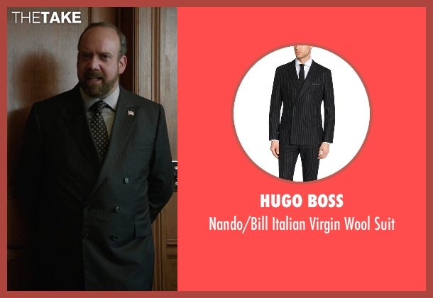 Hugo Boss black suit from Billions seen with Chuck Rhoades (Paul Giamatti)