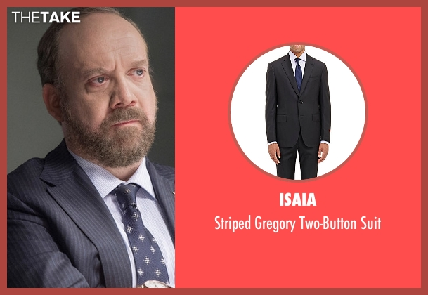 Isaia black suit from Billions seen with Chuck Rhoades (Paul Giamatti)