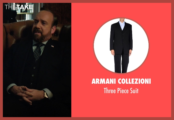 Armani Collezioni black suit from Billions seen with Chuck Rhoades (Paul Giamatti)