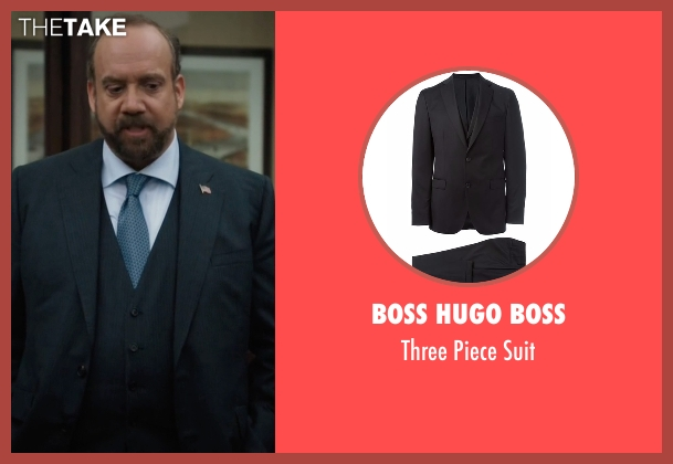 Boss Hugo Boss black suit from Billions seen with Chuck Rhoades (Paul Giamatti)