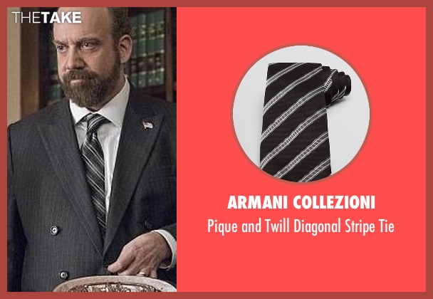 Armani Collezioni black tie from Billions seen with Chuck Rhoades (Paul Giamatti)