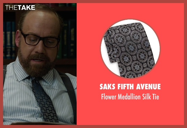 Saks Fifth Avenue black tie from Billions seen with Chuck Rhoades (Paul Giamatti)