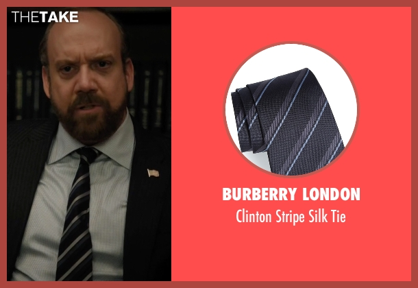 Burberry London black tie from Billions seen with Chuck Rhoades (Paul Giamatti)
