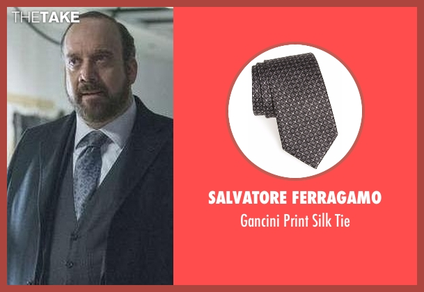 Salvatore Ferragamo  black tie from Billions seen with Chuck Rhoades (Paul Giamatti)