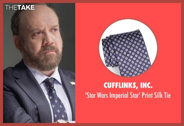 Cufflinks, Inc. blue tie from Billions seen with Chuck Rhoades (Paul Giamatti)