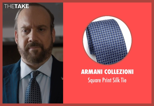 Armani Collezioni blue tie from Billions seen with Chuck Rhoades (Paul Giamatti)
