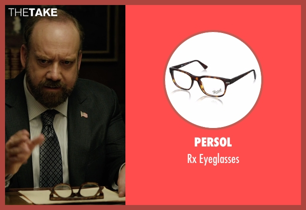 Persol brown eyeglasses from Billions seen with Chuck Rhoades (Paul Giamatti)
