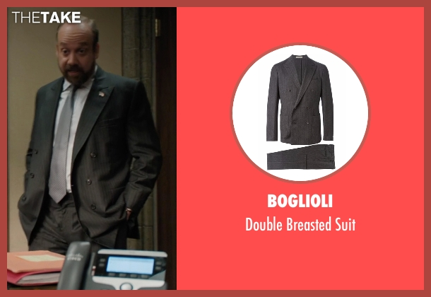 Boglioli gray suit from Billions seen with Chuck Rhoades (Paul Giamatti)