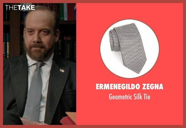Ermenegildo Zegna gray tie from Billions seen with Chuck Rhoades (Paul Giamatti)