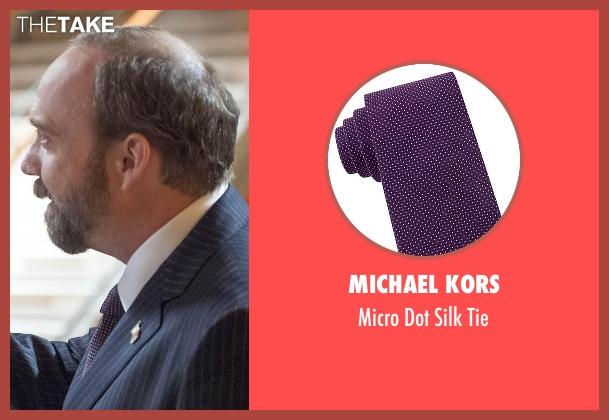 Michael Kors purple tie from Billions seen with Chuck Rhoades (Paul Giamatti)