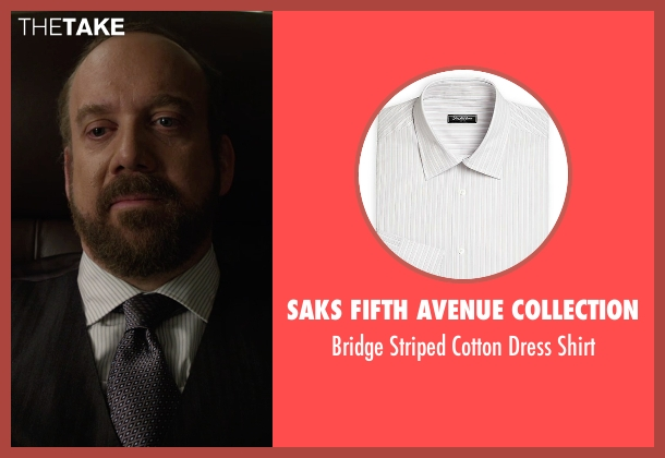 Saks Fifth Avenue Collection white shirt from Billions seen with Chuck Rhoades (Paul Giamatti)