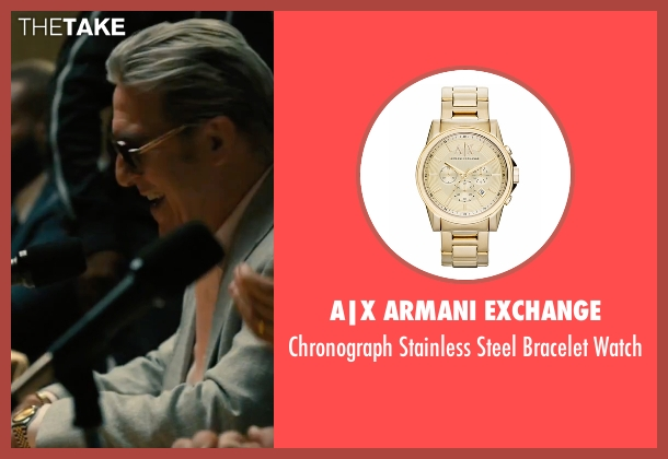 A|X Armani Exchange gold watch from Bleed for This seen with Ciarán Hinds (Angelo Pazienza)