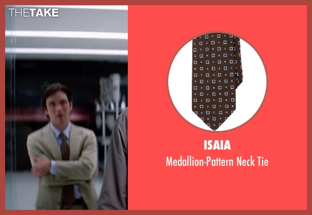 ISAIA brown tie from Transcendence seen with Cillian Murphy (Agent Buchanan)