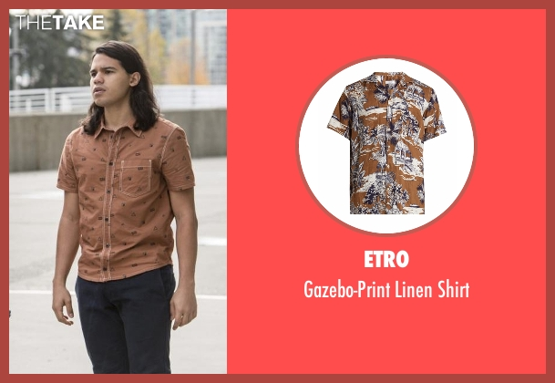 Etro brown shirt from The Flash seen with Cisco Ramon / Reverb (Carlos Valdes)