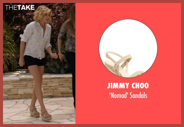 Jimmy Choo beige sandals from Modern Family seen with Claire Dunphy (Julie Bowen)