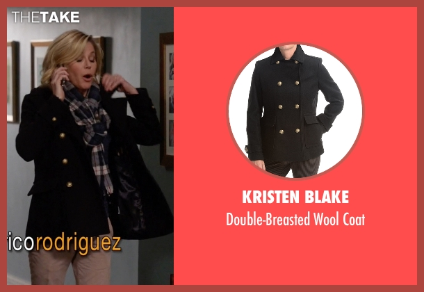 Kristen Blake black coat from Modern Family seen with Claire Dunphy (Julie Bowen)